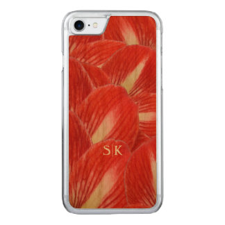 Lovely Red Amaryllis Garden Floral Custom Monogram Carved iPhone 7 Case