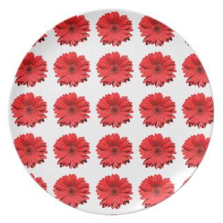 Lovely red Daisy flower Melamine Plate