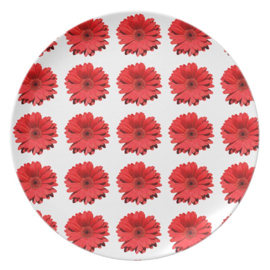 Lovely red Daisy flower Melamine Plate