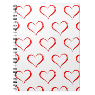 Lovely Red hearts note spiral book