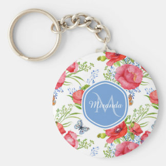 Lovely Red Poppies With Blue Butterflies and Name Keychain