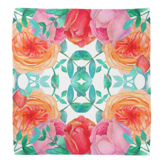 Lovely Roses Watercolor Floral Bright Pattern Bandana