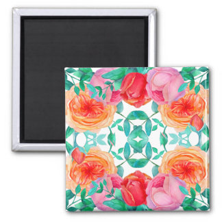 Lovely Roses Watercolor Floral Bright Pattern Square Magnet