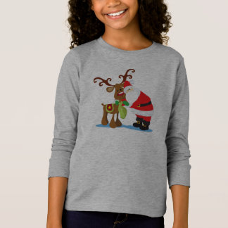 Lovely Santa Claus and Reindeer | Sleeve Shirt