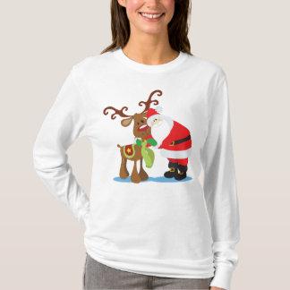Lovely Santa Claus and Reindeer | Sleeve Shirt