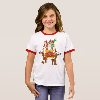 Lovely Santa Claus and Reindeers | Ringer Shirt
