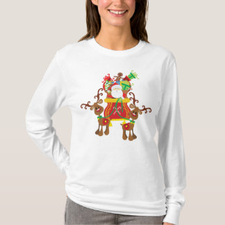 Lovely Santa Claus and Reindeers | Sleeve Shirt