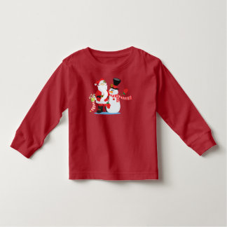 Lovely Santa Claus and Snowman | Sleeve Shirt