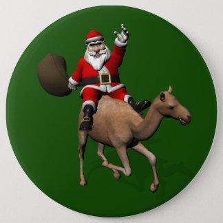 Lovely Santa Claus Riding A Camel 6 Inch Round Button