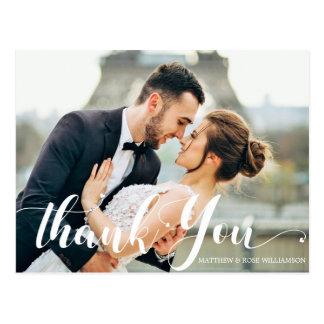lovely script | wedding thank you postcard
