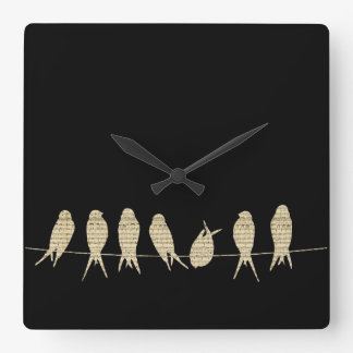 Lovely Sheet Music Birds Square Wall Clock