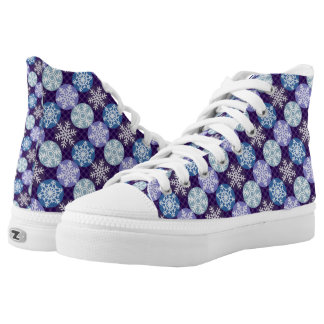 Lovely Snowflakes Winter Christmas Pattern High Tops