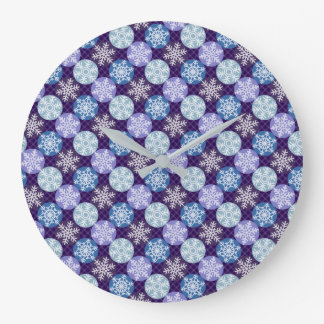 Lovely Snowflakes Winter Christmas Pattern Large Clock