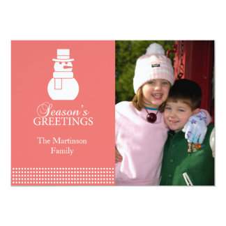 Lovely Snowman Christmas Card (Coral)