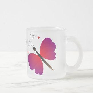 Lovely summer butterflies design frosted glass coffee mug