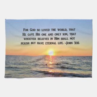 LOVELY SUNRISE JOHN 3:16 DISH TOWEL