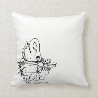 Lovely Swan on the Water Throw Pillow