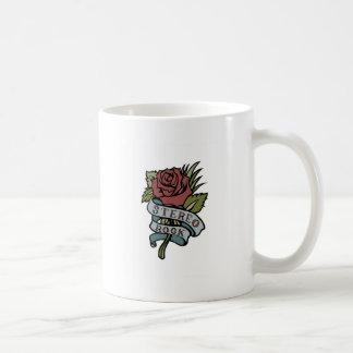 "lovely tattoo flowers""stereo rock"" red and green basic white mug"