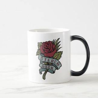 """Lovely Tattoo Flowers""""Stereo Rock"""" Red and Green Morphing Mug"""