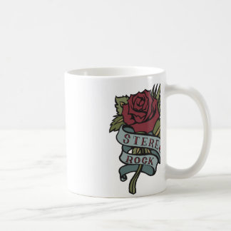 """Lovely Tattoo Flowers""""Stereo Rock"""" Red and Green Classic White Coffee Mug"""