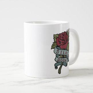 "Lovely Tattoo Flowers""Stereo Rock"" Red and Green Jumbo Mug"