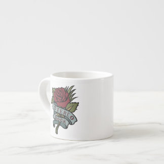 """Lovely Tattoo Flowers""""Stereo Rock"""" Red and Green Espresso Mug"""