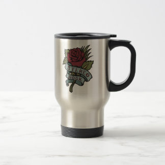 """Lovely Tattoo Flowers""""Stereo Rock"""" Red and Green Stainless Steel Travel Mug"""