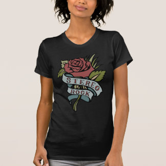 "Lovely Tattoo Flowers""Stereo Rock"" Red and Green T-Shirt"