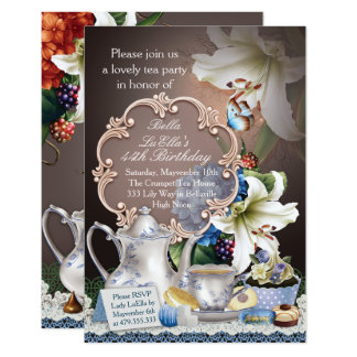 Lovely Tea Party Birthday Party Invitations