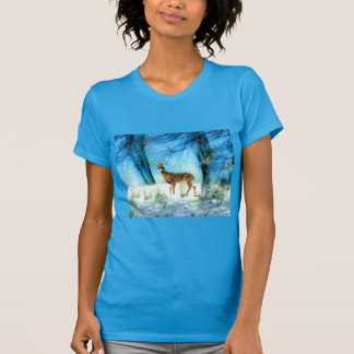 Lovely Teal Blue T-Shirt with Deer in Snowy Forest