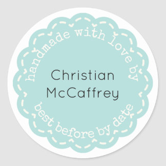Lovely Tiffany Blue Rosette Handmade Custom Label
