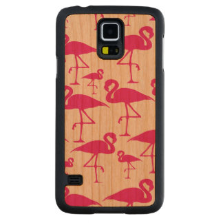 Lovely Tropical Pink Flamingo Carved Cherry Galaxy S5 Case