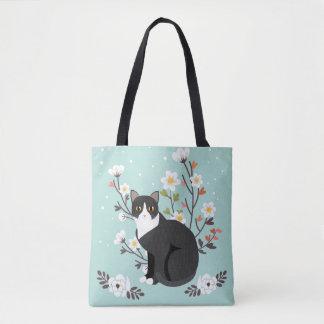 Lovely Tuxedo Cat in Flowers All-Over-Print Tote