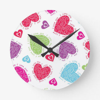 """Lovely Valentine's Day hearts and """"I love you""""text Clock"""