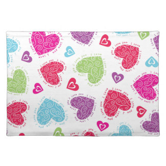 """Lovely Valentine's Day hearts and the """"I love you"""" Placemat"""