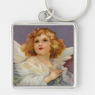 Lovely Vintage Angel Silver-Colored Square Keychain