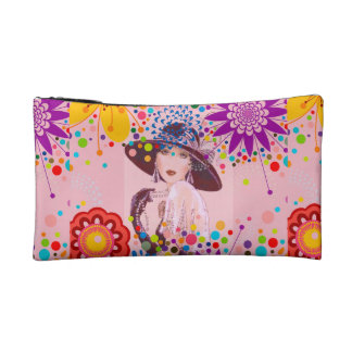 LOVELY VINTAGE ART PRINT COSMETIC BAG