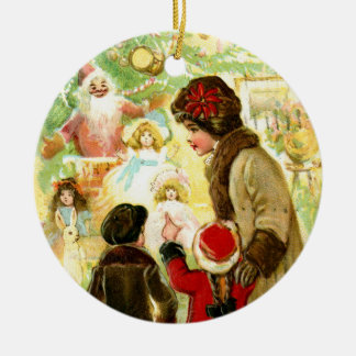 Lovely Vintage Christmas Illustration Ceramic Ornament