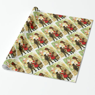 Lovely Vintage Christmas Illustration Wrapping Paper