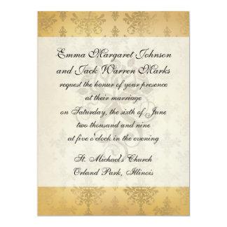 "lovely vintage distressed gold damask 6.5"" x 8.75"" invitation card"