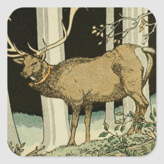 Lovely Vintage Elk Illustration Birch Trees Forest Square Sticker