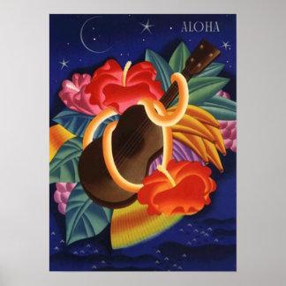 LOVELY VINTAGE HAWAII ~ UKULELE & HIBISCUS POSTER