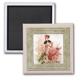 Lovely Vintage Lady In Pink Dress Square Magnet