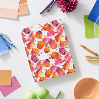 Lovely watercolor autumn leaves  pattern iPad cover