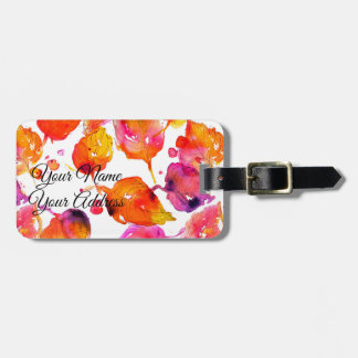 Lovely watercolor autumn leaves  pattern luggage tag