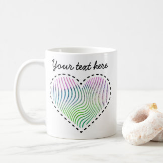 Lovely watercolor striped heart with dashed lines coffee mug