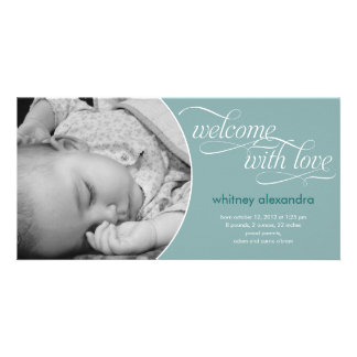 Lovely Welcome Baby Birth Announcement - Blue Photo Card