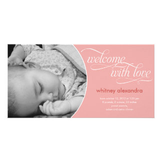 Lovely Welcome Baby Birth Announcement - Pink Personalized Photo Card
