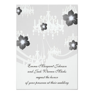 """lovely white chandelier damask on grey silver 4.5"""" x 6.25"""" invitation card"""