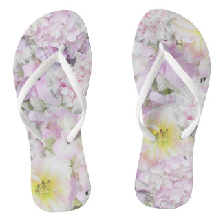 Lovely White Flowers Floral Flip Flops